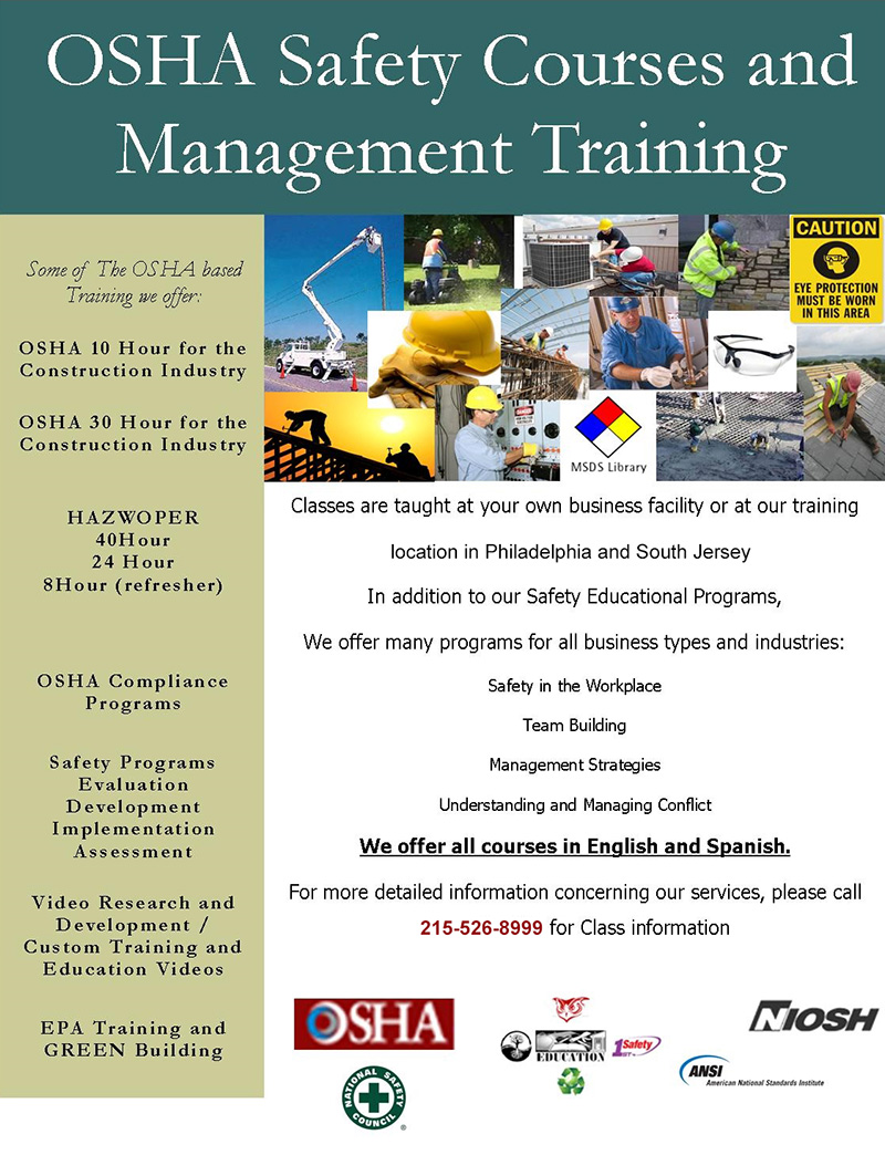 OSHA Safety Courses and Management Training